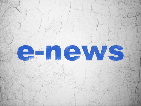 tabloid: News concept: Blue E-news on textured concrete wall background