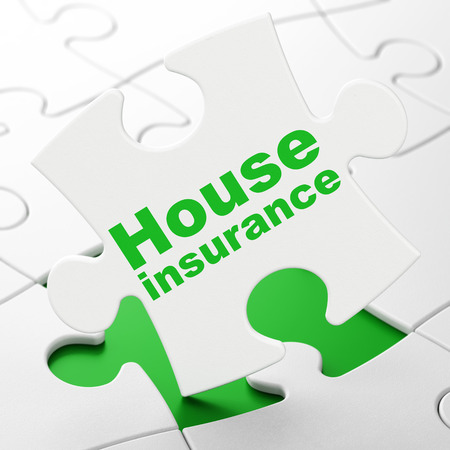 Insurance concept: House Insurance on White puzzle pieces background, 3D rendering Stock Photo