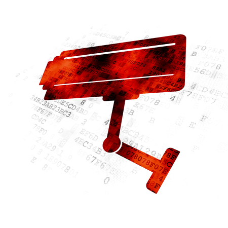 Protection concept: Pixelated red Cctv Camera icon on Digital background