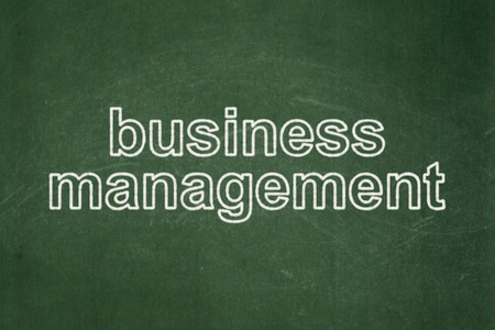 Business concept: text Business Management on Green chalkboard background Banco de Imagens