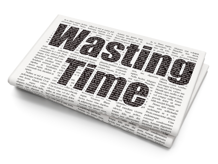 Time concept: Pixelated black text Wasting Time on Newspaper background, 3D rendering Stock Photo