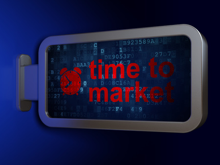 Timeline concept: Time to Market and Alarm Clock on advertising billboard background, 3D rendering