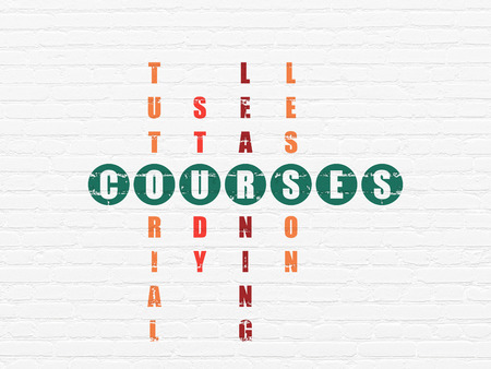 Education concept: Painted green word Courses in solving Crossword Puzzle