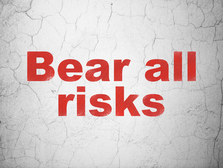 Insurance concept: Red Bear All Risks on textured concrete wall background Stock Photo