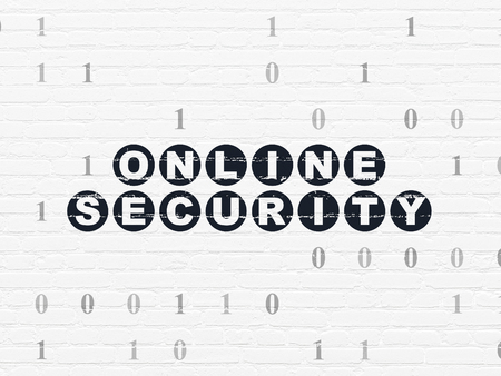 Security concept: Painted black text Online Security on White Brick wall background with Binary Code