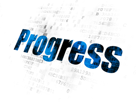 Business concept: Pixelated blue text Progress on Digital background Stock Photo