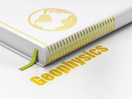 Science concept: closed book with Gold Globe icon and text Geophysics on floor, white background, 3D rendering Stock Photo