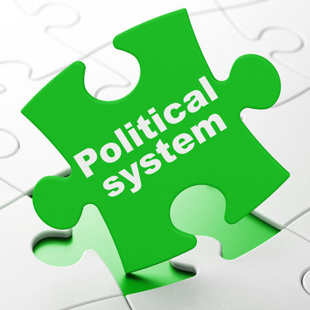 debating: Politics concept: Political System on Green puzzle pieces background, 3D rendering