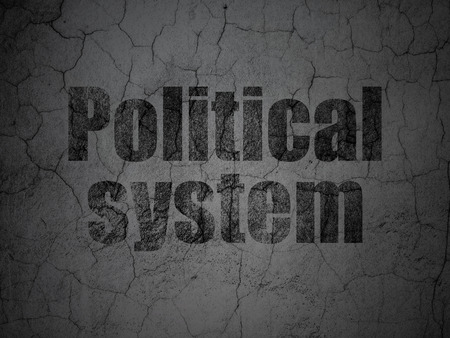 Political concept: Black Political System on grunge textured concrete wall background Stock Photo