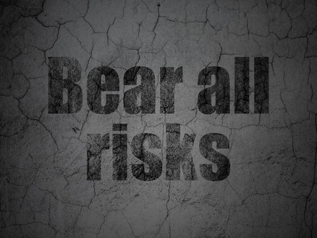 Insurance concept: Black Bear All Risks on grunge textured concrete wall background