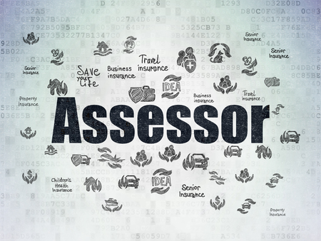 Insurance concept: Painted black text Assessor on Digital Data Paper background with  Hand Drawn Insurance Icons Imagens