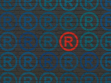 Law concept: rows of Painted blue registered icons around red registered icon on Black Brick wall background