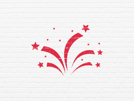 glades: Entertainment, concept: Painted red Fireworks icon on White Brick wall background