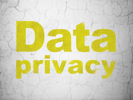Security concept: Yellow Data Privacy on textured concrete wall background