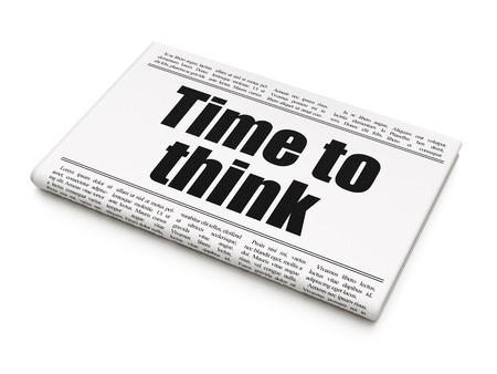 Timeline concept: newspaper headline Time To Think on White background, 3D rendering Stock Photo