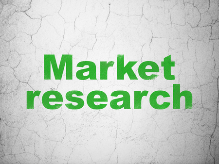 Marketing concept: Green Market Research on textured concrete wall background Banco de Imagens