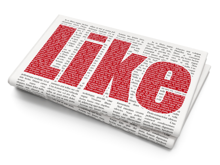 Social media concept: Pixelated red text Like on Newspaper background, 3D rendering