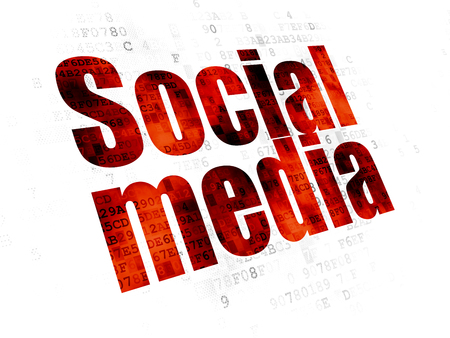 Social media concept: Pixelated red text Social Media on Digital background
