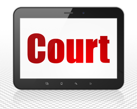 Law concept: Tablet Pc Computer with red text Court on display, 3D rendering