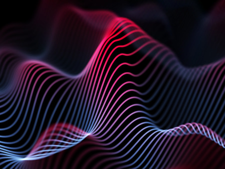 Information technology concept: abstract blue glowing waves. Futuristic background. Vector illustration. 矢量图像