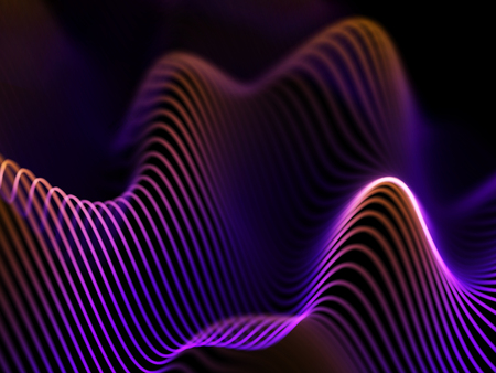 Information technology concept: abstract blue glowing waves. Futuristic background. Vector illustration. Vettoriali