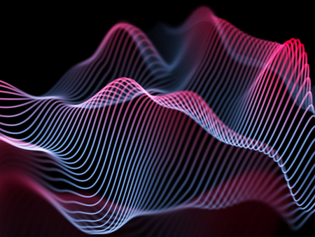 Information technology or big data analysis concept: abstract glowing curves. Futuristic background. Sound waves, business or financial charts, networking or data flow. Eps10 vector illustration Çizim