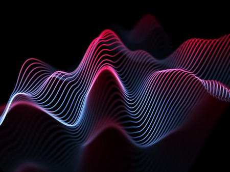 Information technology or big data analysis concept: abstract glowing curves. Futuristic background. Sound waves, business or financial charts, networking or data flow. Eps10 vector illustration 矢量图像