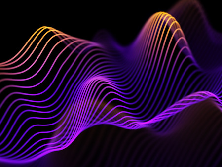 Information technology or big data analysis concept: abstract glowing curves. Futuristic background. Sound waves, business or financial charts, networking or data flow. Eps10 vector illustration Stock Photo