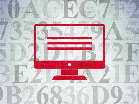 seo: Web development concept: Painted red Monitor icon on Digital Data Paper background with  Hexadecimal Code Stock Photo