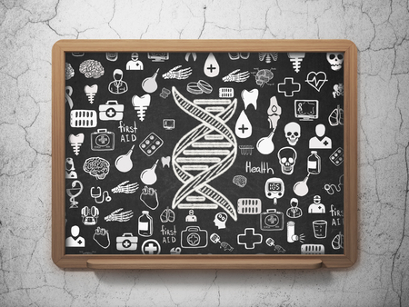 human evolution: Health concept: Chalk White DNA icon on School board background with  Hand Drawn Medicine Icons, 3D Rendering Stock Photo