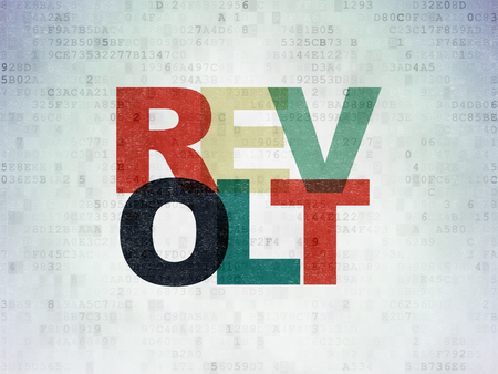 politic: Politics concept: Painted multicolor text Revolt on Digital Data Paper background