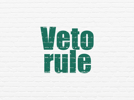 politic: Politics concept: Painted green text Veto Rule on White Brick wall background