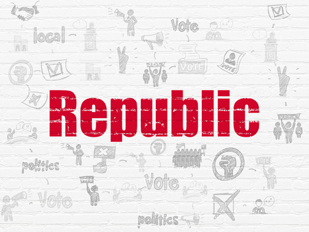 politic: Political concept: Painted red text Republic on White Brick wall background with Scheme Of Hand Drawn Politics Icons