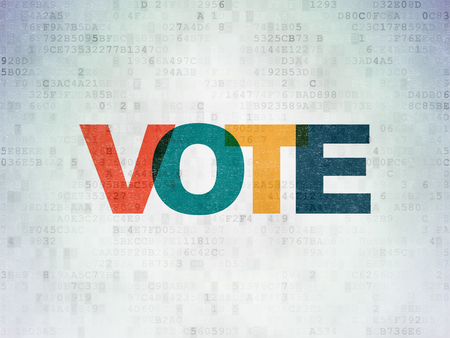 politic: Politics concept: Painted multicolor text Vote on Digital Data Paper background