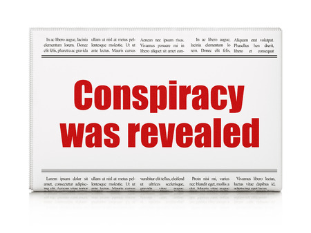 politic: Political concept: newspaper headline Conspiracy Was Revealed on White background, 3D rendering