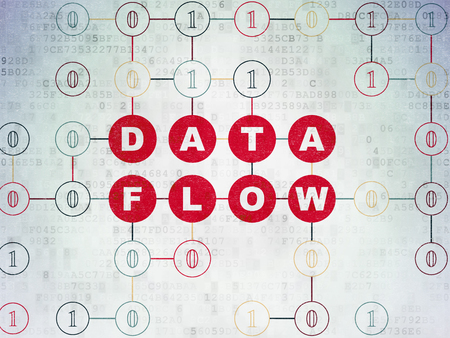 schemes: Information concept: Painted red text Data Flow on Digital Data Paper background with Binary Code Stock Photo