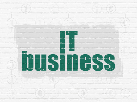 schemes: Business concept: Painted green text IT Business on White Brick wall background with Scheme Of Binary Code Stock Photo