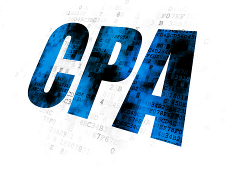 Finance concept: Pixelated blue text CPA on Digital background Stock Photo