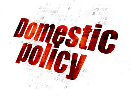 domestic policy: Political concept: Pixelated red text Domestic Policy on Digital background