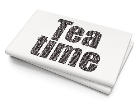 cronologia: Concepto de línea de tiempo: Pixelated texto negro Tea Time sobre fondo de periódico en blanco, representación 3D Foto de archivo