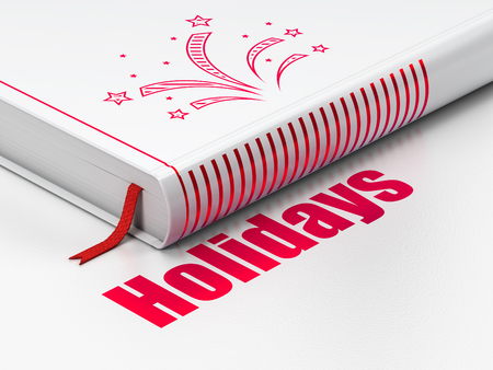 Holiday concept: closed book with Red Fireworks icon and text Holidays on floor, white background, 3D rendering Stock Photo