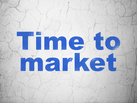 Time concept: Blue Time to Market on textured concrete wall background