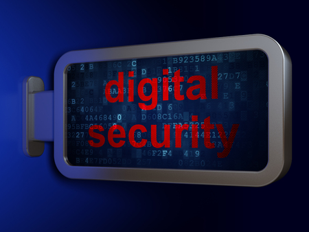 Protection concept: Digital Security on advertising billboard background, 3D rendering