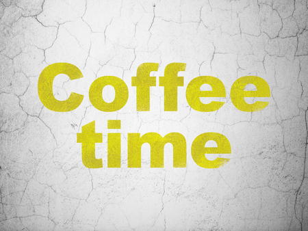 Time concept: Yellow Coffee Time on textured concrete wall background Stock Photo