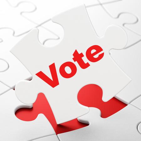 Politics concept: Vote on White puzzle pieces background, 3D rendering Stock Photo