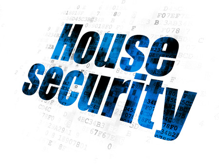 Protection concept: Pixelated blue text House Security on Digital background