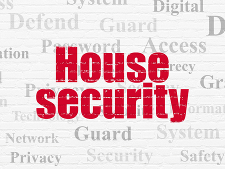 Security concept: Painted red text House Security on White Brick wall background with  Tag Cloud