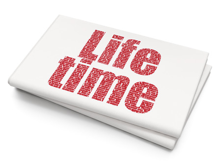 Timeline concept: Pixelated red text Life Time on Blank Newspaper background, 3D rendering Stock Photo