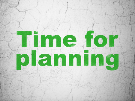 Timeline concept: Green Time for Planning on textured concrete wall background Stock Photo