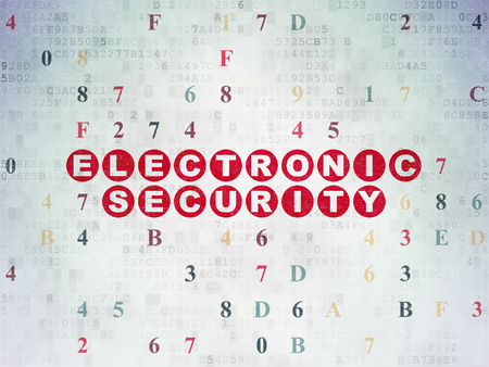 Protection concept: Painted red text Electronic Security on Digital Data Paper background with Hexadecimal Code